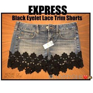Express Black Eyelet Trim Jean Shorts